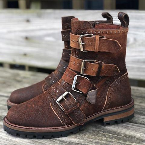 Women Round Toe Low Heel Winter Buckle Casual Boots
