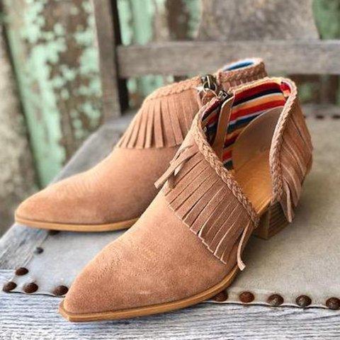 Women Slide Pointed Toe Casual Pu Tassel Spring/fall Sandals