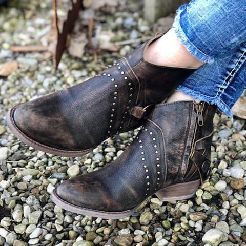 Women Round Toe Pu Vintage Zipper Casual Chunky Heel Ankle Boots