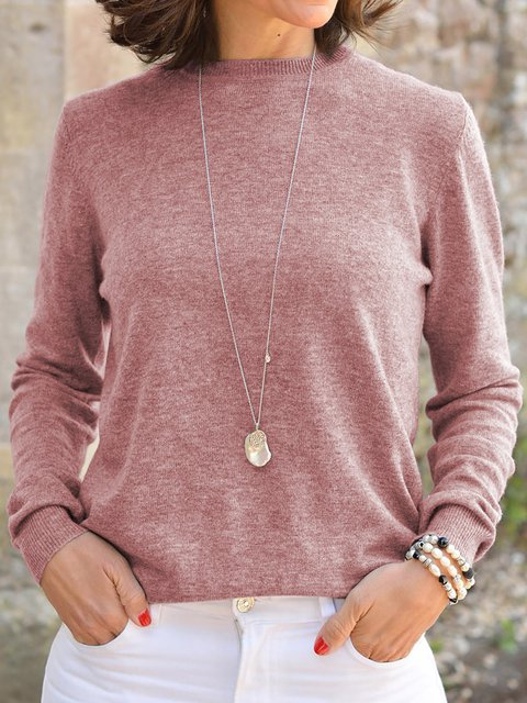 Round Neck Casual Long Sleeve Solid Sweaters