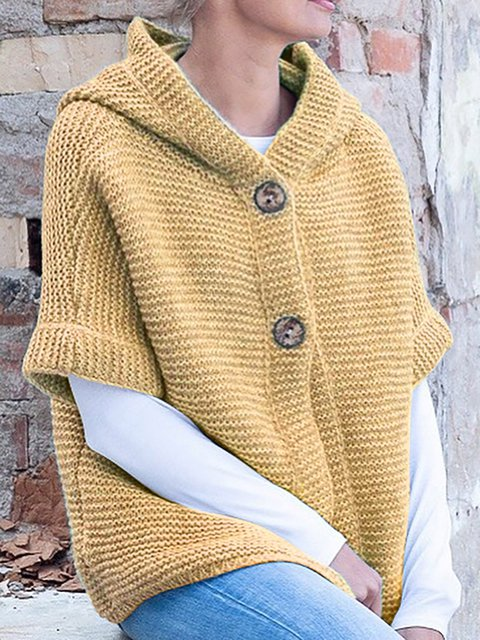 Half Sleeve Round Neck Solid Cotton Hooded Sweaters