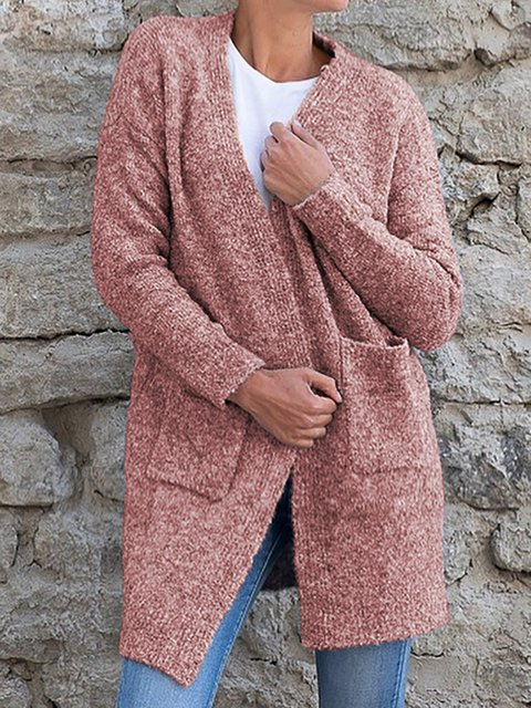 Plus Size Long Sleeve Casual Solid Pockets Cardigans