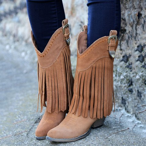 Fringe Cowgirl Boots Buckles Tassel Vintage Women Knee-High Boots