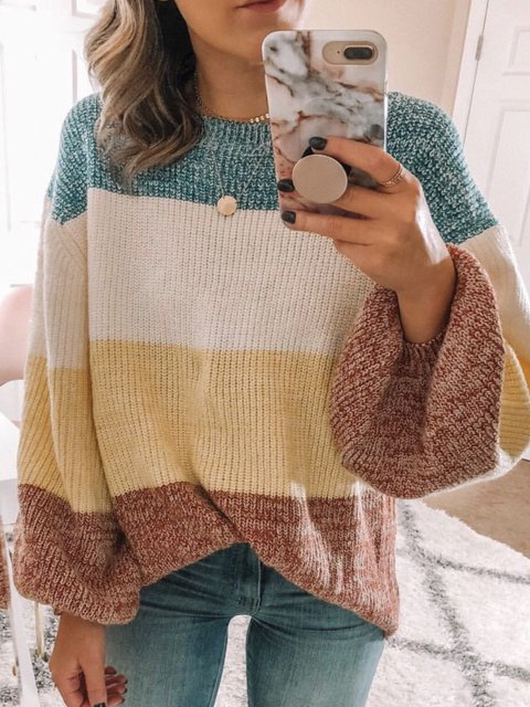 As Picture Casual Knitted Shirts & Tops