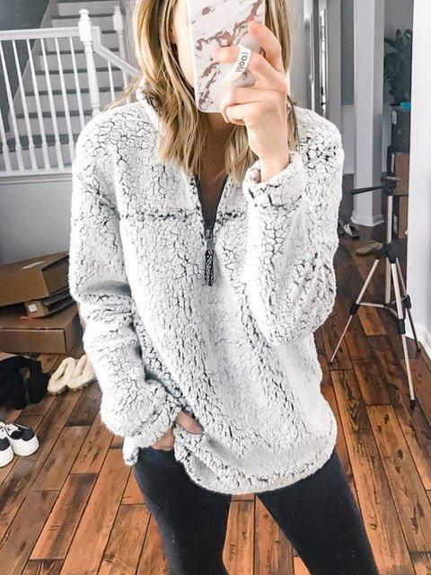 Light Grey Casual Shawl Collar Outerwear