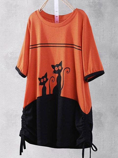 Casual Crew Neck Half Sleeve Animal Shirts & Tops