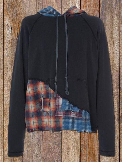 Casual check stitching hooded sweater