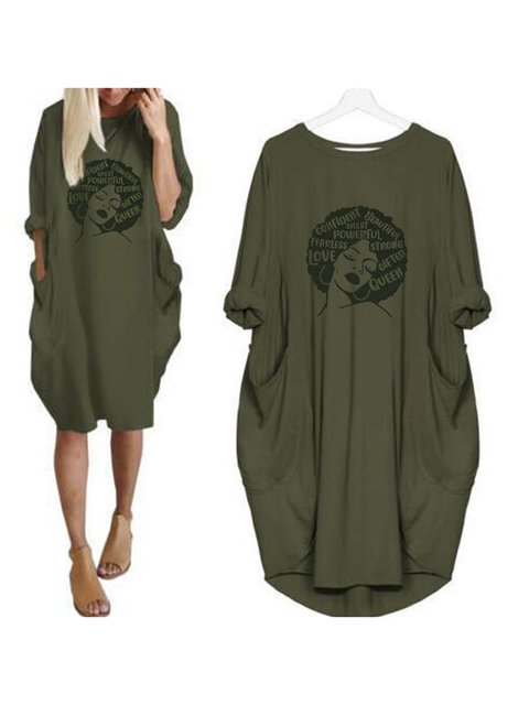 Crew Neck Women Dresses Cocoon Daily Paneled Abstract Dresses