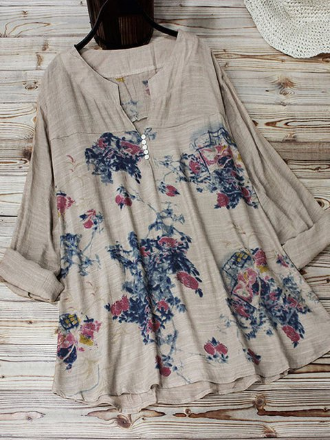 Floral-Print Linen Holiday Floral Shirts & Tops
