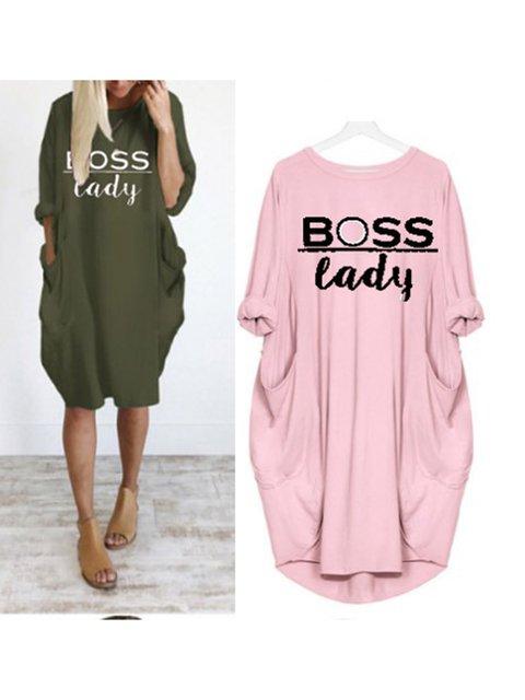 Crew Neck Women Dresses Daily Cotton-Blend Dresses