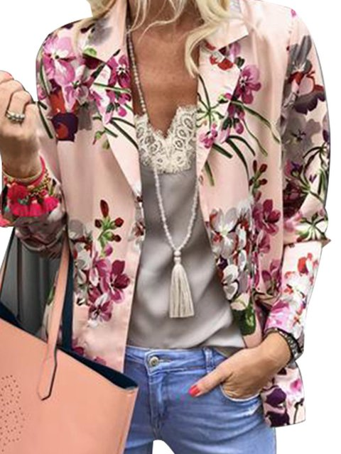 Pink Holiday Paneled Long Sleeve Lapel Outerwear