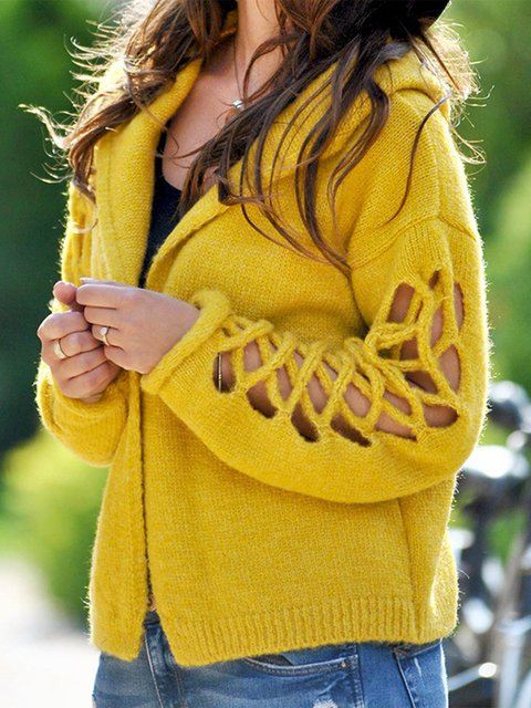 Casual Hoodie Long Sleeve Cutout Plus Size Sweaters