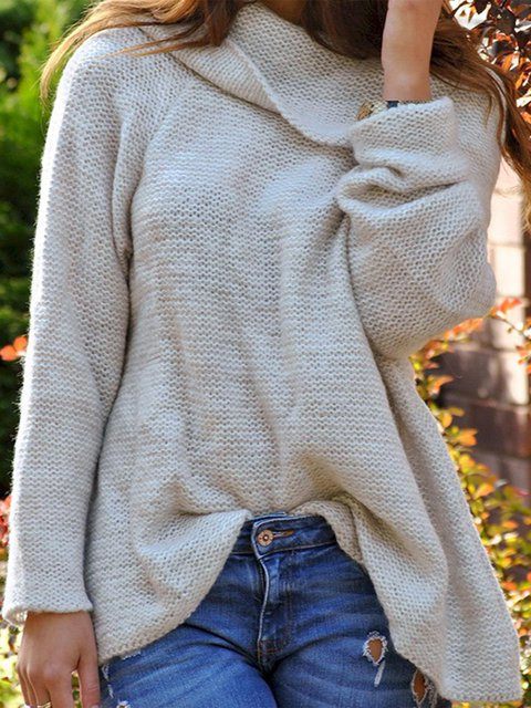 Knitted Solid Elegant Plus Size Women Sweaters