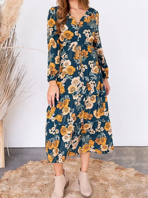V Neck Women Caftans Shift Daily Casual Floral Dresses