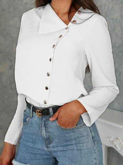 Buttoned Long Sleeve Cotton Solid Holiday Shirts