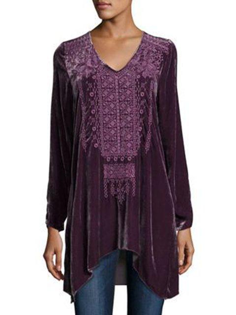 Women Purple Velvet Long Sleeve Shirts & Tops