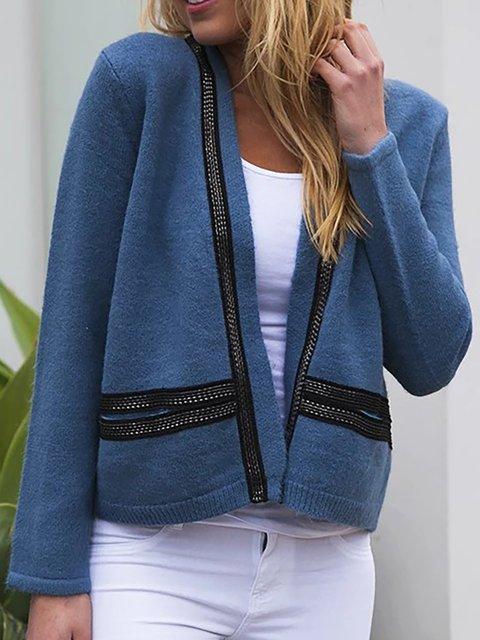 Plus Size Pockets Long Sleeve Cotton Cardigans