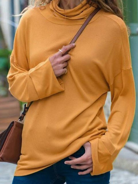 Casual Cotton-Blend Turtleneck Shirts & Tops
