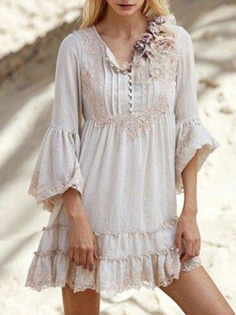 V Neck Apricot Women Summer Dresses Cotton Dresses