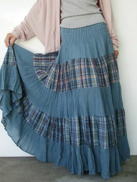 Color-Block Skirts Casual Checkered/plaid Cotton Paneled Skirts