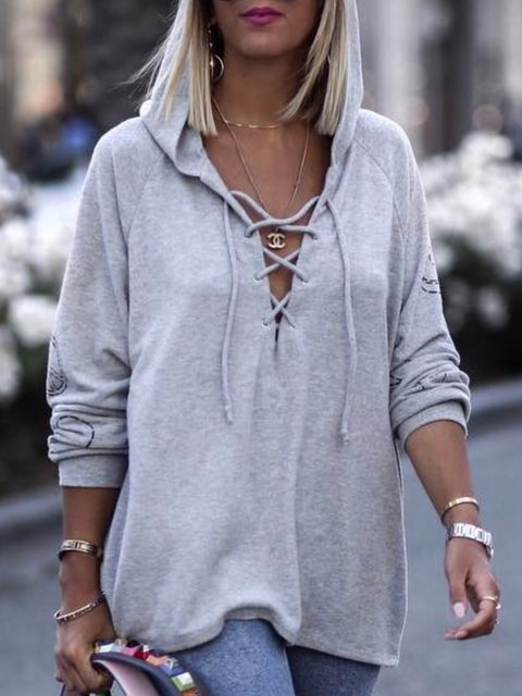 Casual Solid HoodieTops