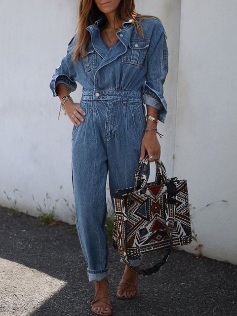 Plus Size Casual Long Sleeve Pockets Jumpsuits