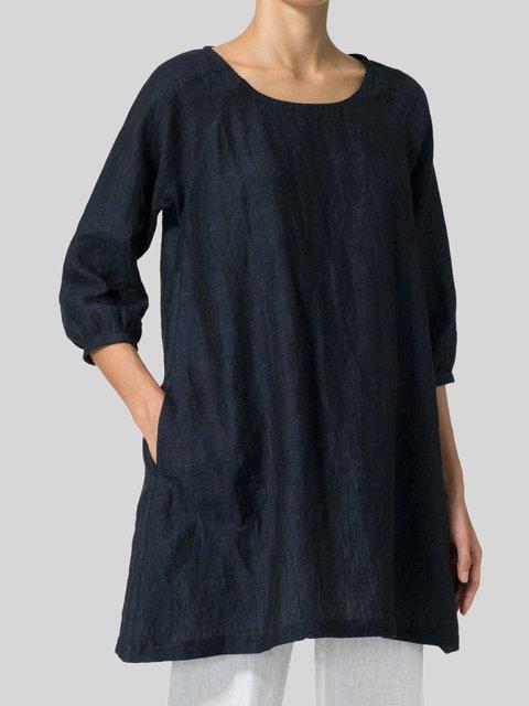 Casual Plain Cotton Shirts & Tops