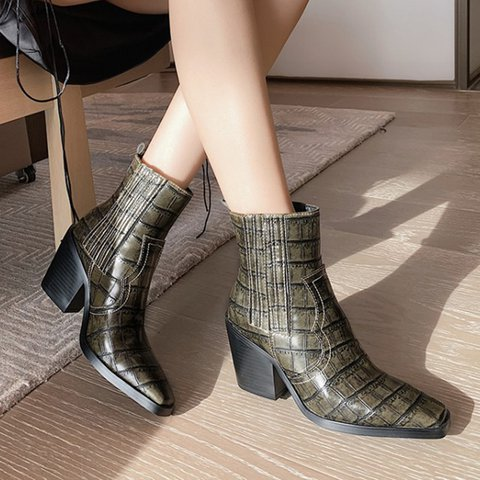 Woman Stone Pattern Square Toe Chunky Heel Ankle Boots