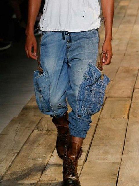 Blue Denim Pockets Casual Pants