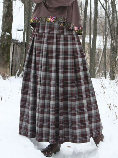Vintage Checkered/plaid Casual Skirts
