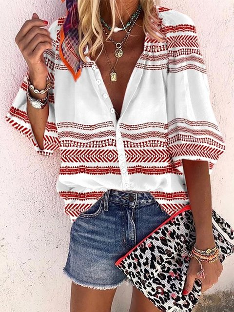 White Printed Half Sleeve Shirts & Tops