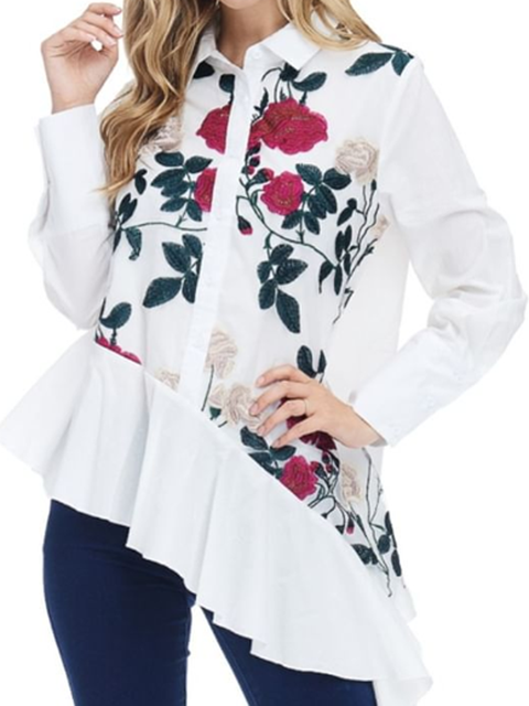 White Long Sleeve Floral-Print Cotton-Blend Floral Shirts Tops