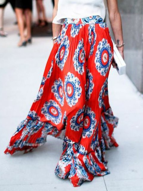 Floral-Print Floral Boho Red Cotton-Blend Skirts