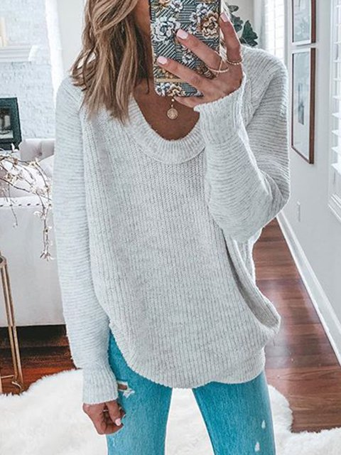 Plus Size Sweater Crew Neck Long Sleeve Knitted Tops