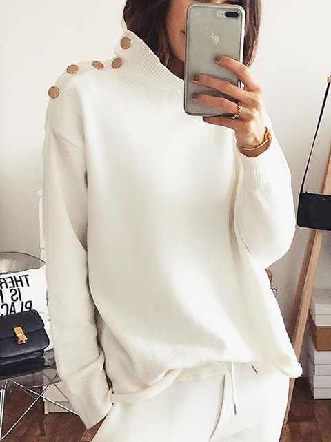 Plus Size Solid Sweater Buttoned  Stand Collar Long Sleeve Tops