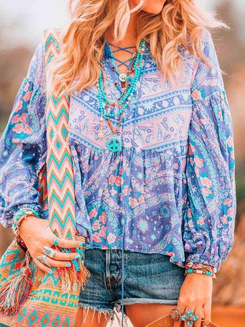 Blue Long Sleeve Holiday Cotton Paneled Shirts & Tops