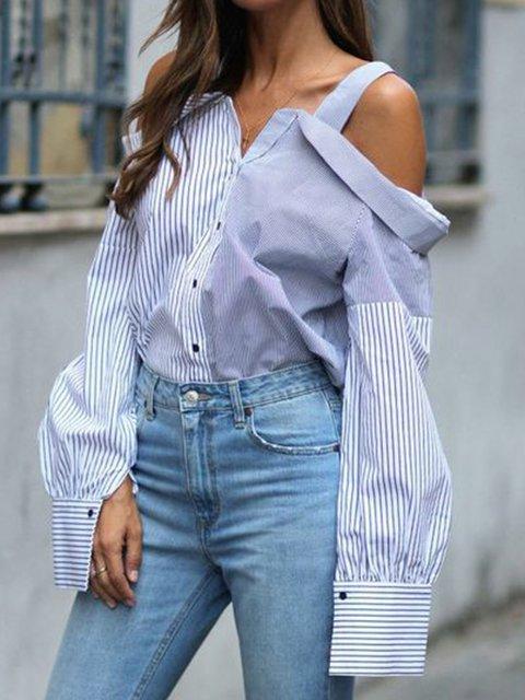 Color-Block Stripes Long Sleeve Off Shoulder Shirts