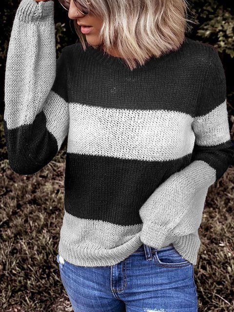 Plus Size Round Neck Long Sleeve Cotton Striped Sweaters