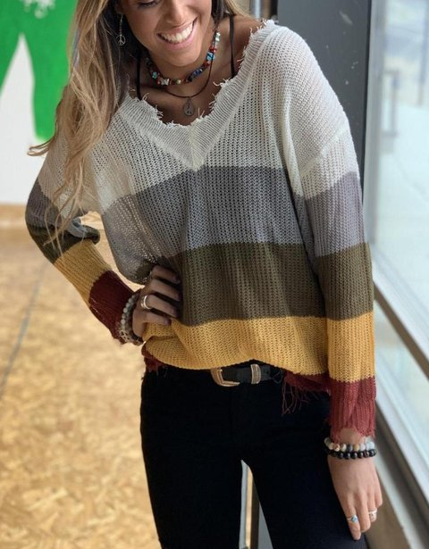 V Neck Multicolor Casual Color-Block Knitted Sweaters