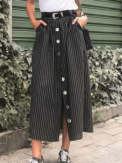 Plus Size Striped Pockets Buttoned Casual Skirts