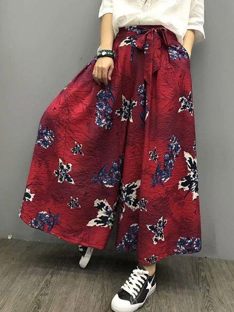 Floral-Print Linen Basic Pants