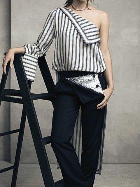 Floral-Print Off Shoulder Stripes Casual Shirts