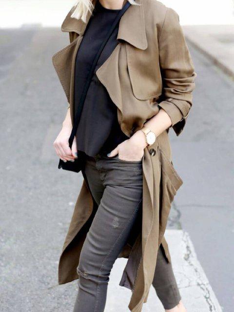 Khaki Casual Buttoned Shirt Collar Outerwear