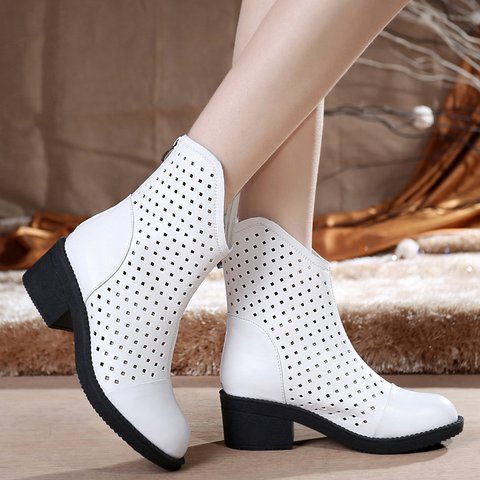 Stylish Breathable Hollow Out Genuine Leather Round Toe Chunky Heel Boots
