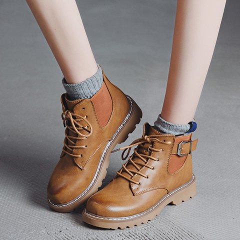 Daily Low Heel Comfy Round Toe Lace Up Martin Boots