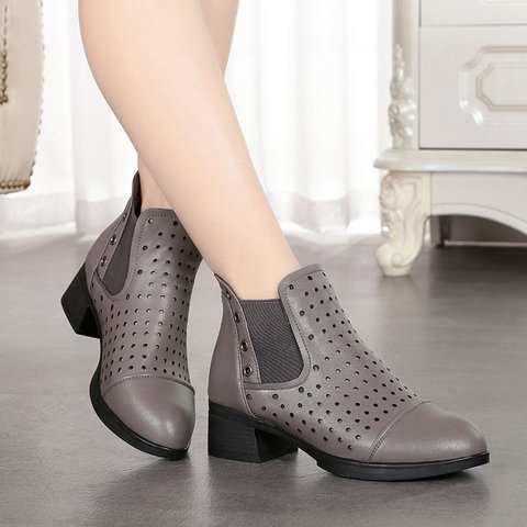 fe878592c57 Stylish Breathable Hollow Out Leather Round Toe Chunky Heel Boots
