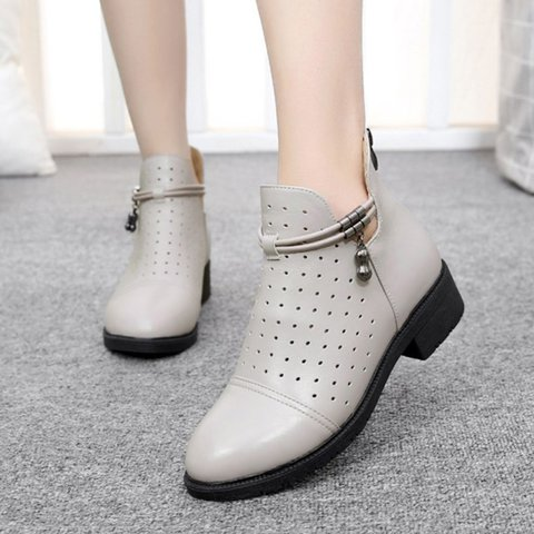 Plus Size Breathable Hollow Out Genuine Leather Round Toe Chunky Heel Boots