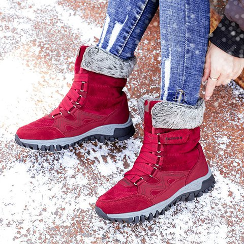 Warm Outdoor Round Toe Flat Heel Magic Tape Snow Boots