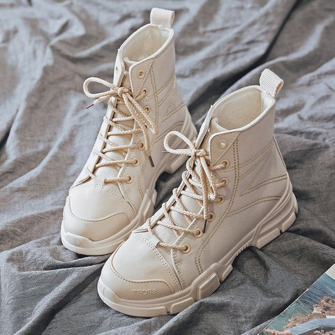 Daily Low Heel Comfy Canvas Round Toe Lace Up Martin Boots