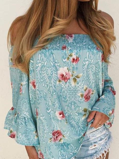 Blue Off Shoulder Floral Boho Floral-Print Shirts Tops